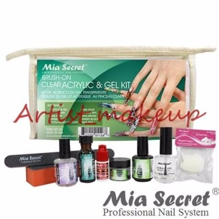 MIA SECRET CLEAR ACRYLIC & GEL UV POWDER NAIL PREP PRIMER GLOSS GLUE KIT - (Hotcoat Powder Gloss)