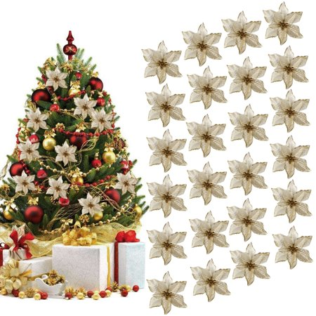 24Pcs 5.91'' Wreaths Decor, Outgeek Glitter Artificial Flowers Wedding Christmas Flowers Xmas Tree Ornaments Party Home Accessories Supplies Decorations Golden Red