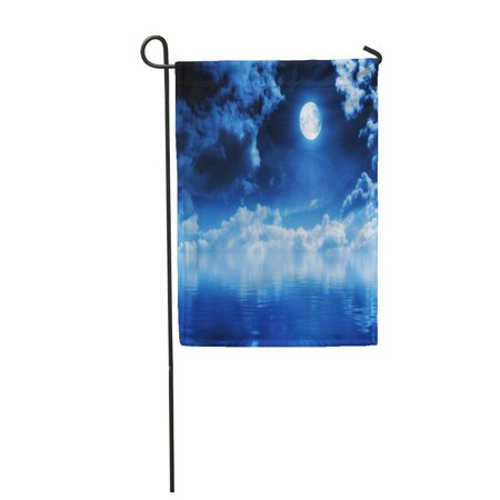 SIDONKU Night Full Moon with Water Sky Luna Earth System Solar Heaven Sphere Garden Flag Decorative Flag House Banner 12x18 inch ()