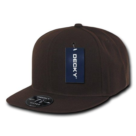 Bill 6 Panel Fitted Cap (Plain Round Flat Bill Structured Baseball Cap Fitted Hat - Brown 6 7/8 )