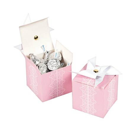 Fun Express - Pink Pinwheel Favor Boxes for Baby - Party Supplies - Containers & Boxes - Paper Boxes - Baby - 12 Pieces - Halloween Pinwheels Appetizers