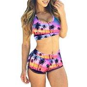 SAYFUT Fashion Print Tank Sports Bikini Set Boyshort Padded Swimsuit Bathing Suits for Women
