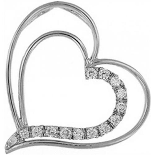 Doma Jewellery DJS03275 Sterling Silver (Rhodium Plated) Heart Pendant with CZ