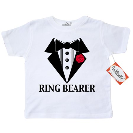 Inktastic Tuxedo Ring Bearer Toddler T-Shirt Wedding Rose Flower Black And White Marriage Bridal Party Tees. Gift Child Preschooler Kid Clothing Apparel - Ring Bearer Gift