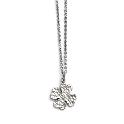 Stainless Steel 18in Polished Four Leaf Clover with Crystal Necklace