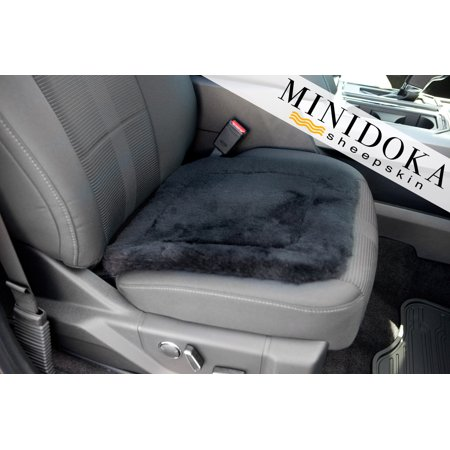 ZYX Seat Pad - Black - Medium Size 16 x 16 - Universal Fit - Leather and Patented Non Slip Backing for Comfort in Car, Plane, Office, or Home