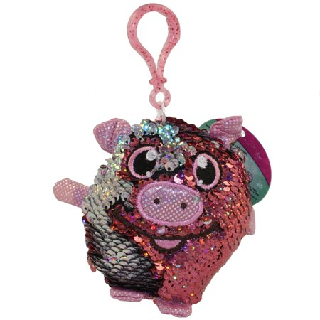 License 2 Play - Shimmeez Sequin Plush - PIG (Pink & Silver)(Plastic Key Clip - 3.5 inch)