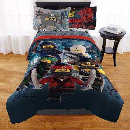 The LEGO Ninjago Movie Comforter, Twin/Full, Kids Bedding, Reversible, LEGO Warriors