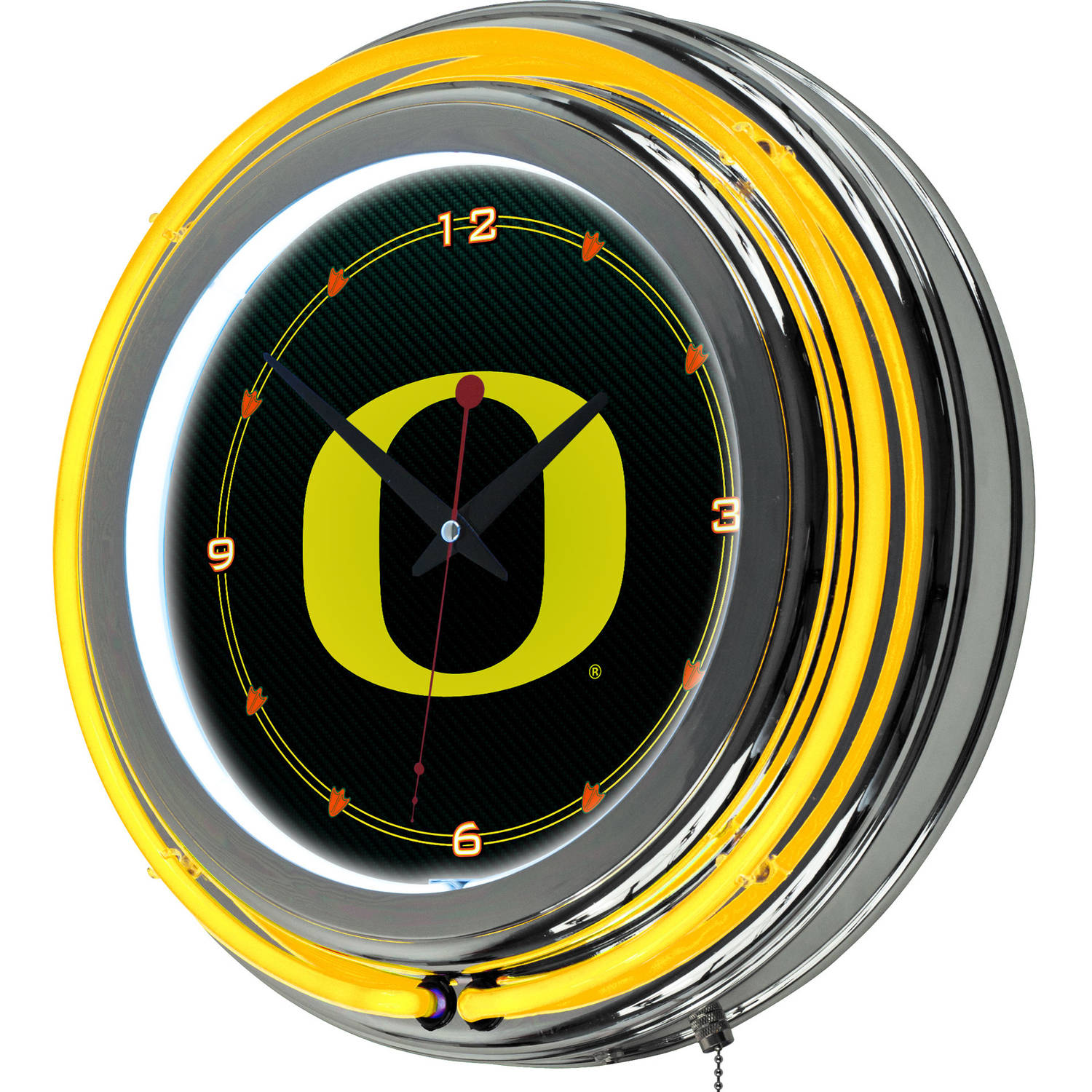 University of Oregon Chrome Double Rung Neon Clock, Carbon Fiber