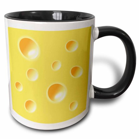 3dRose Yellow Swiss Cheese slice wedge illusion - funny fun silly humorous whimsical humor, Two Tone Black Mug, (Best Way To Slice Cheese)