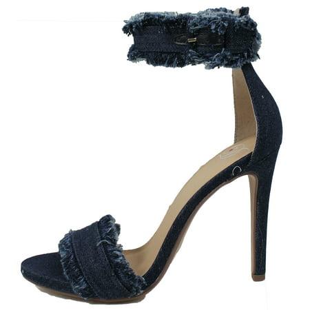c39a6256cbd Delicious - Delicious Women s Open Toe Fringe Desctroyed Denim Ankle Strap  High Heel Sandal (Dark Blue