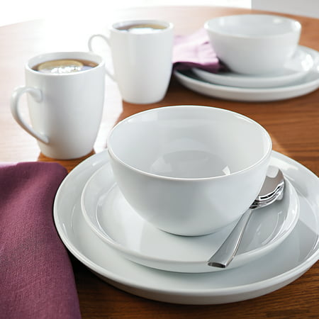 Better Homes & Gardens 16 Piece Collins Dinnerware Set, White