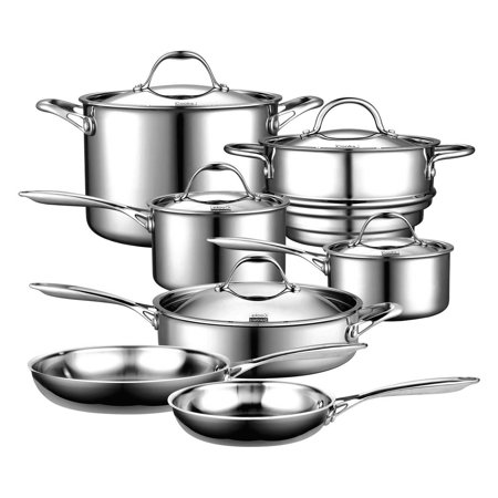 Multi Compact Cookset - Cooks Standard 12-Piece Cookware Set, Multi-Ply Clad Stainless-Steel