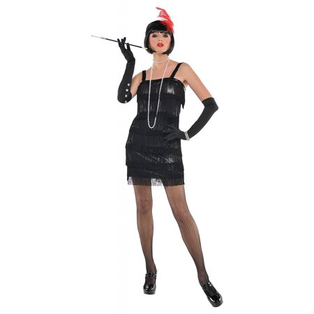 Flapper Adult Costume Black - Medium (Flapper Girl Costumes Adults)