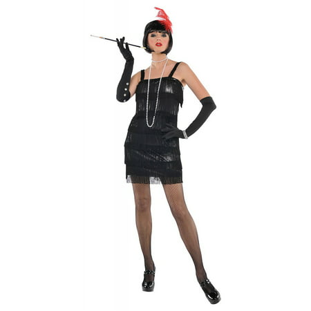 Flapper Adult Costume Black - Medium](Black Light Costumes)