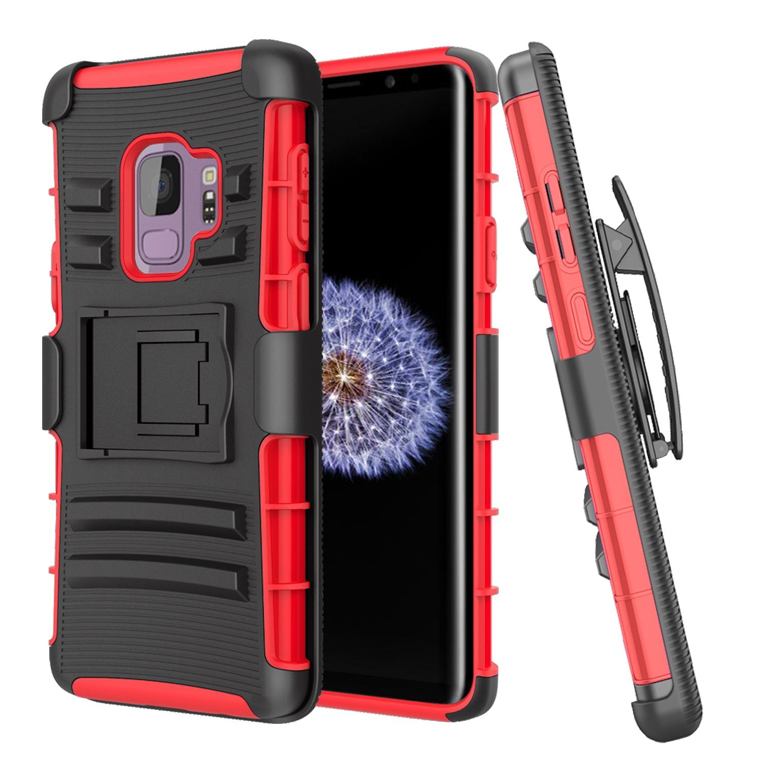 Galaxy S9 Case, Mignova Rugged Plastic Heavy Duty Armor Holster Defender Full Body Protective Hybrid Case Cover with Kickstand and Belt Swivel Clip for Samsung Galaxy S9 Smart Cell Phone (Red)