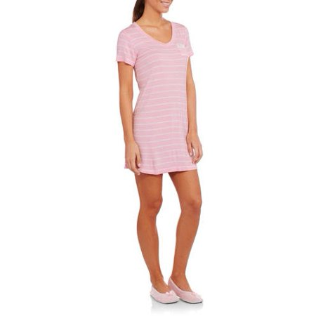 Faded Glory - Essentials Women s Short Sleeve V Neck Sleep Shirt (Sizes S -  3X) - Walmart.com e49c873ef