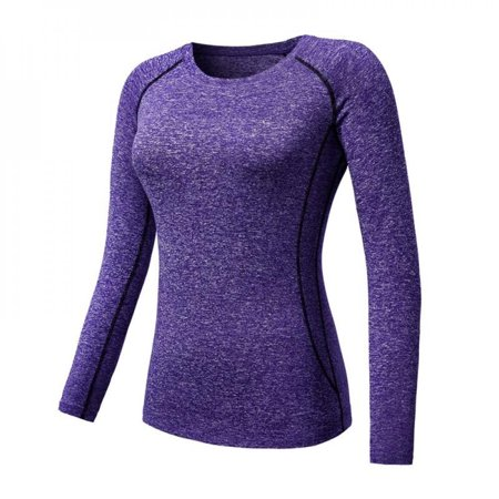 [Big Save!]Women Cozy Quick Dry Tops Compression Base Layer Athletic Long Sleeve T-Shirts Sports For Running Cycling Fitness Yoga Gym Purple M thumbnail