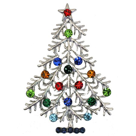 Christmas Tree Pin Brooch Gorgeous Multicolors Crystal G100