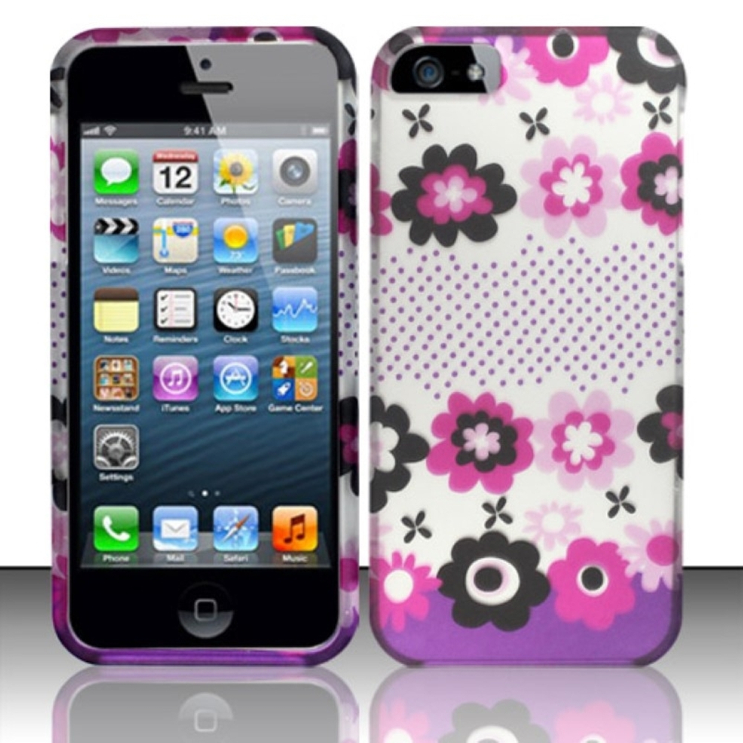 Insten For iPhone SE / 5S / 5 Rubberized Design Case - Pink Blossom Flowers