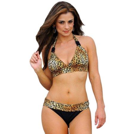 Wild Leopard Banded Bikini Halter Animal Print Swimsuit Swimwear - image 4 of 4