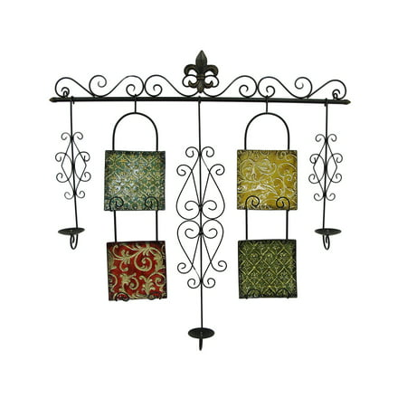 Baroque Style Metal Scrollwork and Tiles Decorative Wall Candelabra