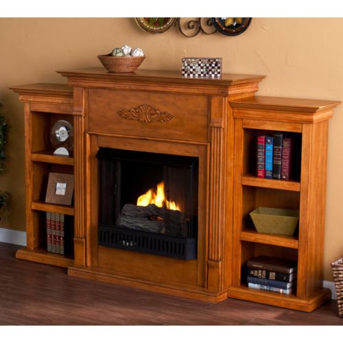 dublin glazed pine gel fuel fireplace with bookshelves - Gel Fuel Fireplace