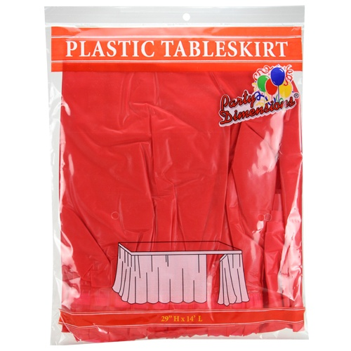 "Red 29""H X 14'L Plastic Disposable Table Skirt"