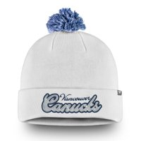 Vancouver Canucks Fanatics Branded Women's Team Dazzle Cuffed Knit Hat with Pom - White - OSFA