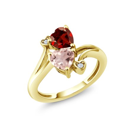 Rose Quartz Gemstone Ring (1.63 Ct Red Garnet Rose Rose Quartz 18K Yellow Gold Plated Silver Ring )