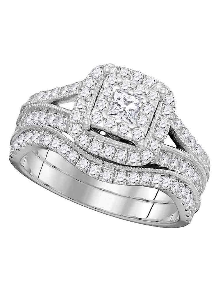 14kt White Gold Womens Princess Diamond Square Halo Split-shank Bridal Wedding Engagement Ring Band Set 1.00 Cttw by Saris and Things GD