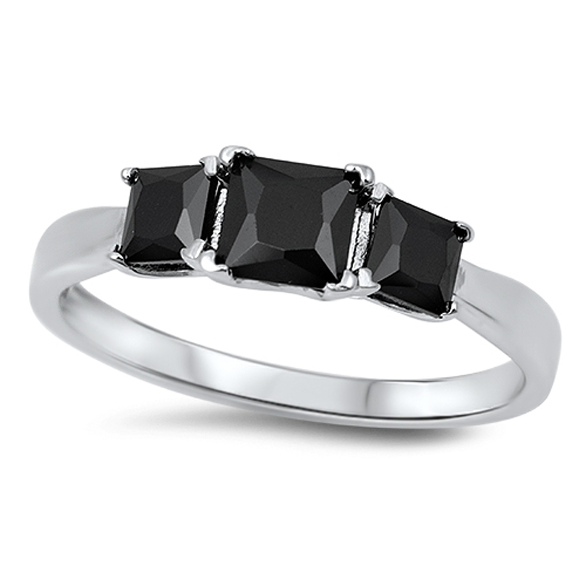 Sterling Silver Women's Flawless Black Cubic Zirconia Triple Square Wedding Ring (Sizes 3-13) (Ring Size 9)