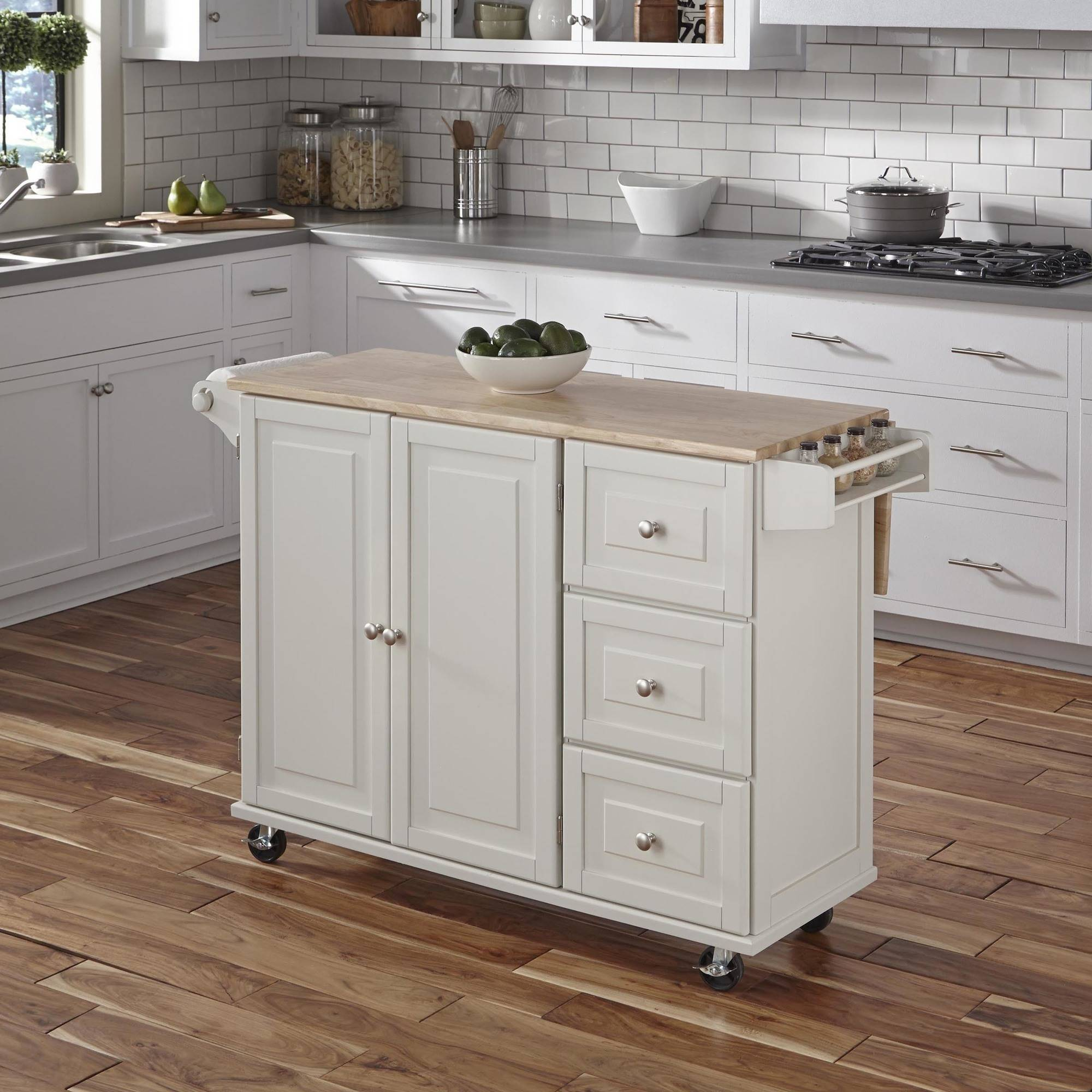 Liberty Kitchen Cart with Wood Top, White by Home Styles