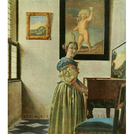 1911 Painting - Lady at a spinet History of Painting 1911 Stretched Canvas - Johannes Vermeer (24 x 36)