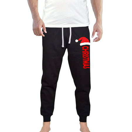 Men's Santa Hat Christmas V615 Black Fleece Gym Jogger Sweatpants Large Black Fleece T-shirt Sweatpants