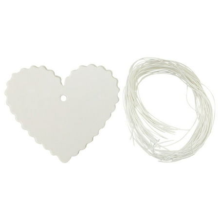 Wrapables® 50 Gift Tags/Kraft Hang Tags with Free Cut Strings for Gifts, Crafts & Price Tags - White Heart
