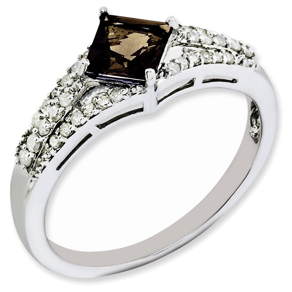 Sterling Silver Smoky Quartz & Diamond Ring Size 9