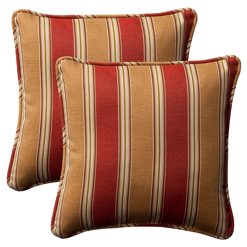 "Pack of 2 Outdoor Patio Furniture SquareThrow Pillows 18.5"" - Red & Khaki Stripe"