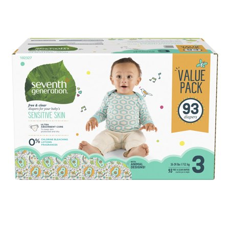 Seventh Generation Free & Clear Baby Diapers with Animal Prints Size 3, 16-28lbs 93 count