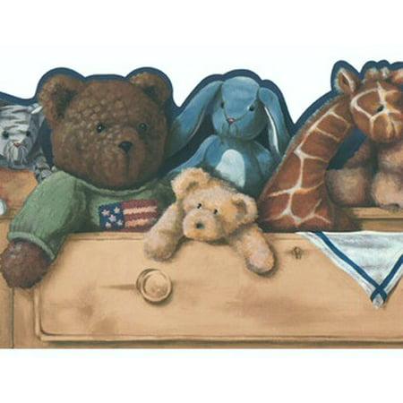 879048 Drawer Full Of Love Stuffed Animals Wallpaper Border BS7815b