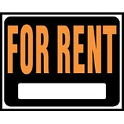 HY-KO Hy-Glo SP-102 Identification Sign, Rectangular, FOR RENT, Fluorescent Orange Legend, Black Background 5 Pack