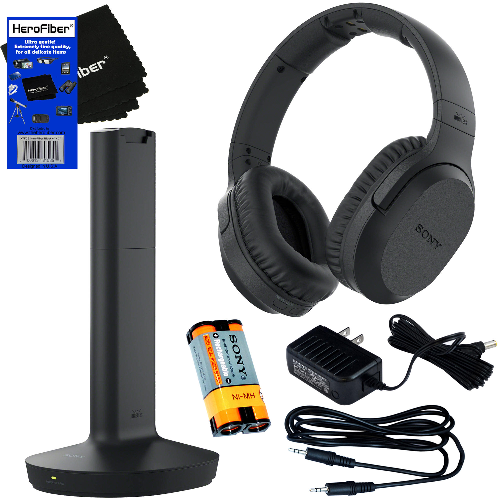 Sony RF995RK Wireless RF (Radio Frequency) Headphone with Transmitter Base Station (2017 model) + Sony Rechargeable Battery + Stereo Connecting Cable + AC adaptor + HeroFiber Gentle Cleaning Cloth