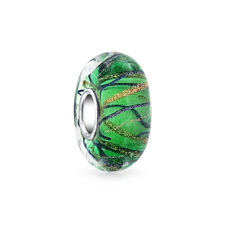Bling Jewelry Green Stripped Wavy Simulated Emerald Murano glass Lampwork Bead Charm .925 Sterling Silver