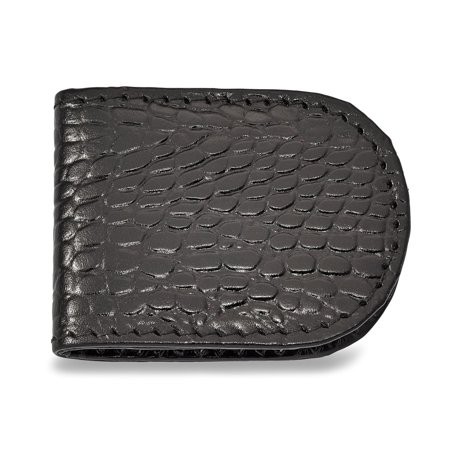 Solid Black Leather Crocodile Grain Slim Business Credit Card Holder Money Clip 2.5