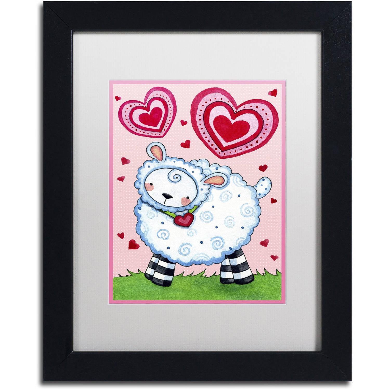 "Trademark Fine Art ""Valentine Lamb"" Canvas Art by Jennifer Nilsson, White Matte, Black Frame"