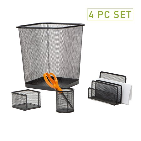 Mind Reader 4 Piece Desk Organizer Set, Pencil Holder, Letter Tray, Supply Organizer with Trash Can