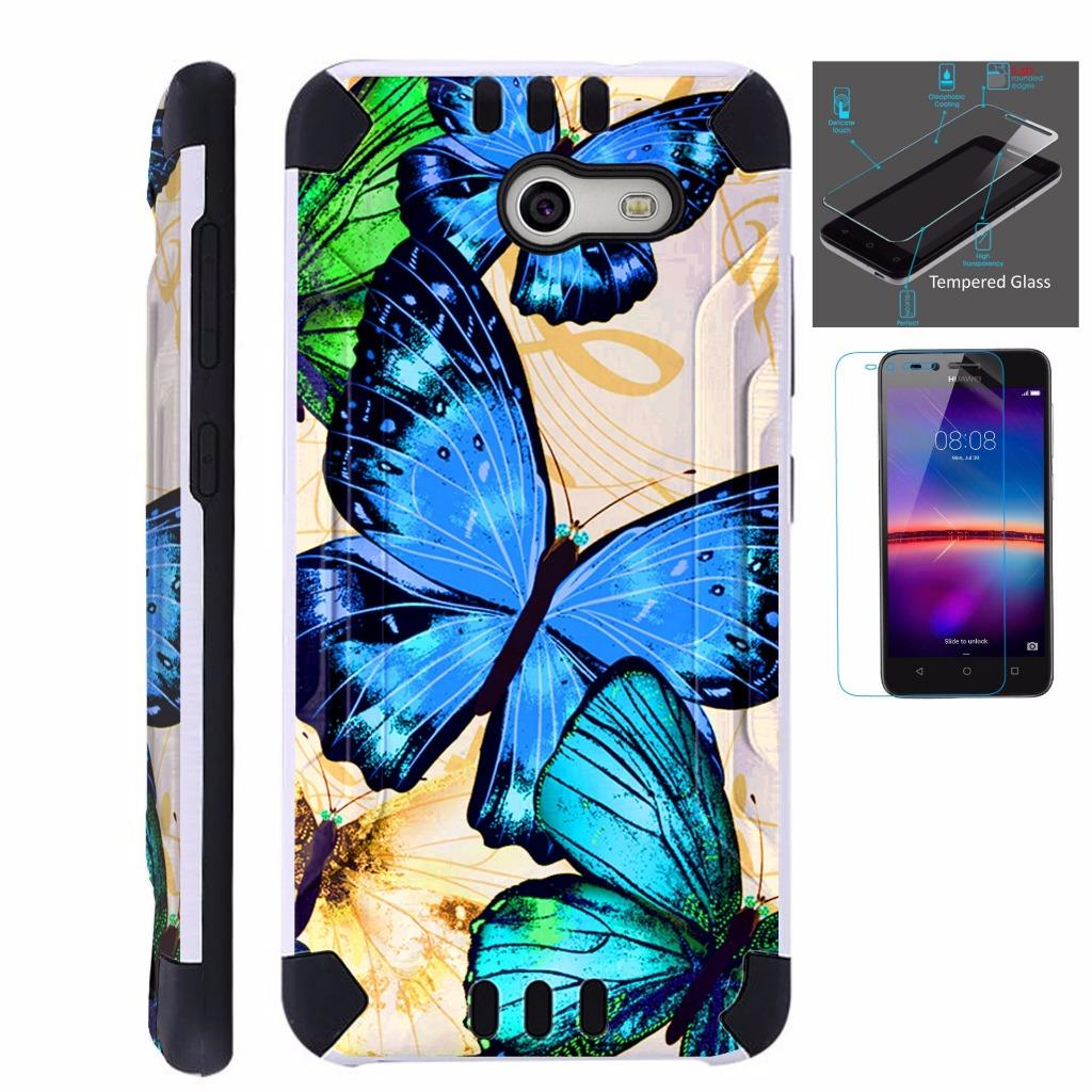 For Alcatel Zip Case + Tempered Glass Brushed Metal Texture Hybrid TPU KombatGuard Phone Cover (Blue Butterfly)