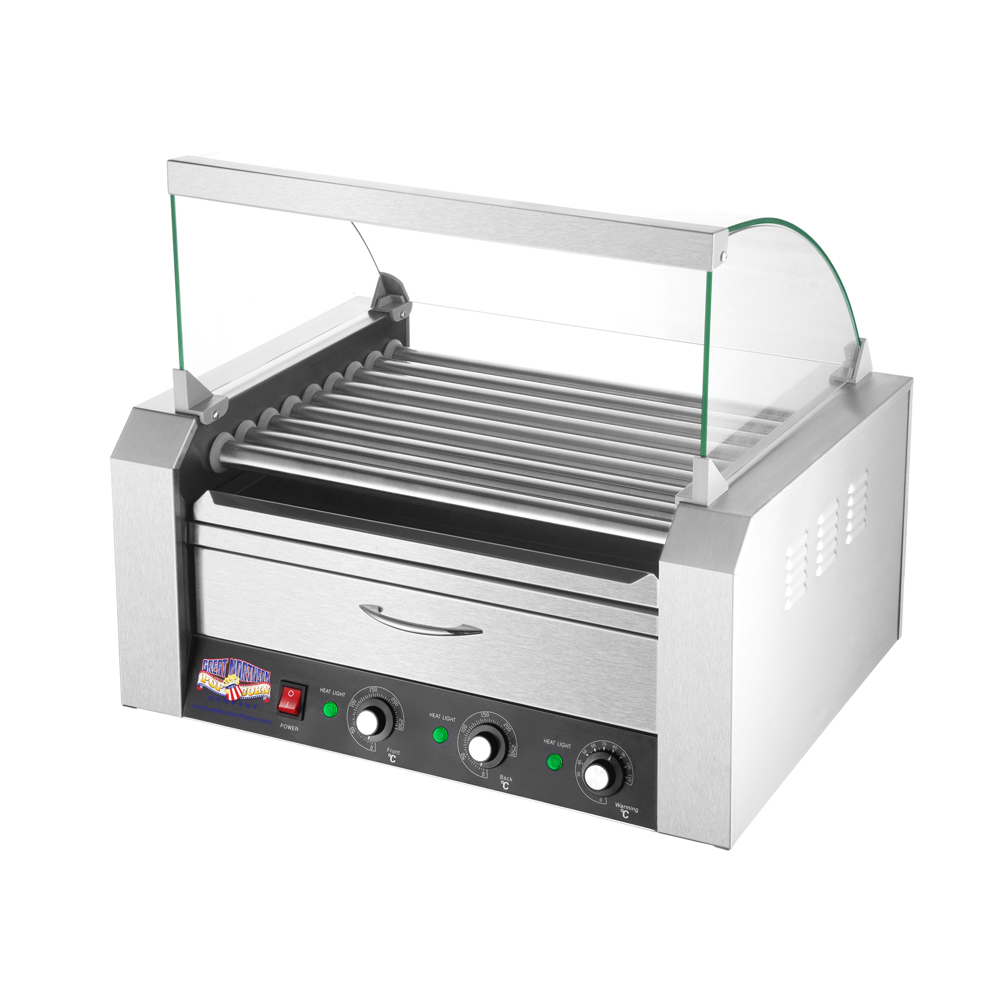 Great Northern 9 Roller Grilling Machine | Bun Warmer | Cover | 24 Hot Dogs