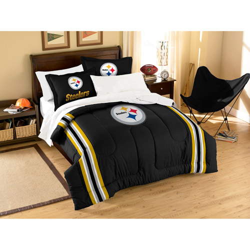 NFL Applique 3-Piece Bedding Comforter Set, Pittsburgh Steelers