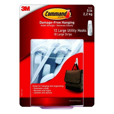 3M Command Large Utility Hooks, White, 12 Hooks, 18 Adhesive - 3m Utility Hooks